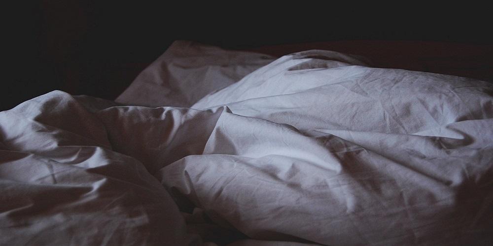 Crumpled bed linen